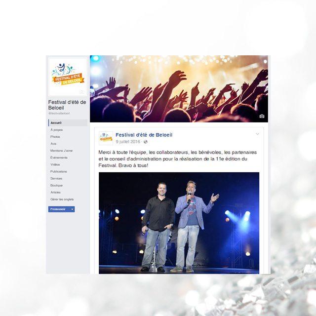 Facebook – Festival d'été de Beloeil