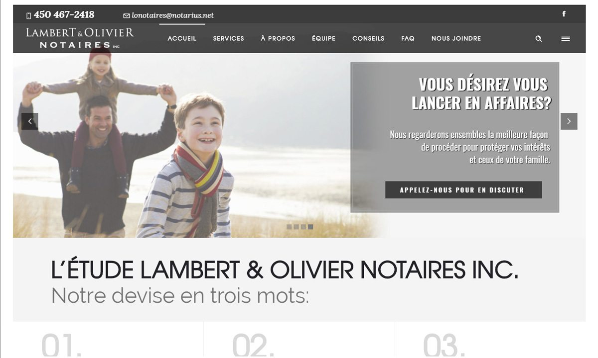 Un tout premier site Web pour Lambert & Olivier Notaires