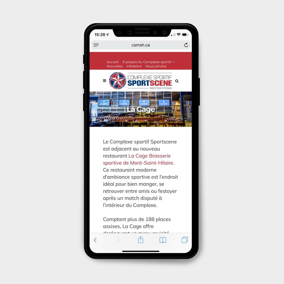 Site web mobile Sportscene