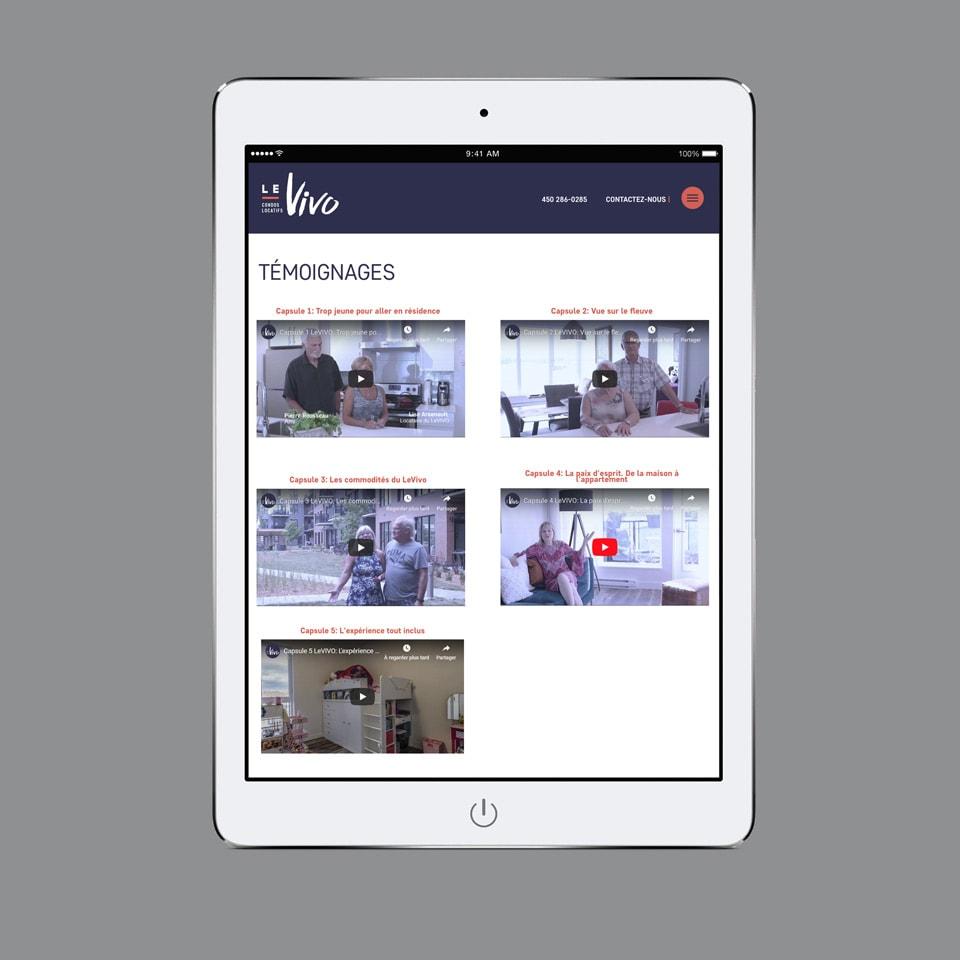 Site Web tablette LeVIVO